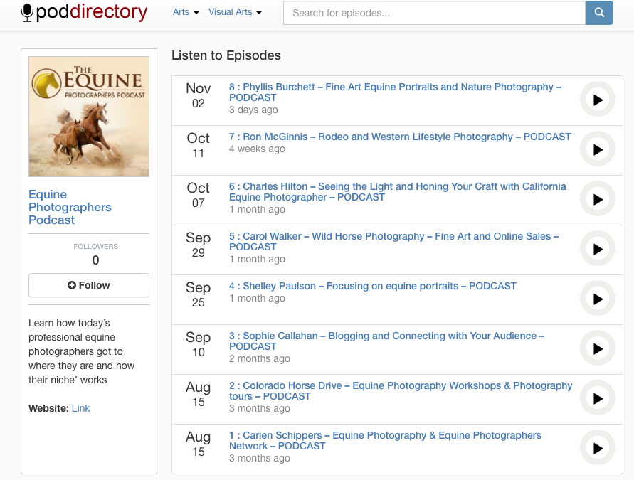 Stitcher, Soundcloud, Player FM, Poddirectory all have the Equine photographers Podcast